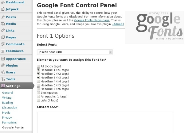 Google Fonts with No Custom CSS