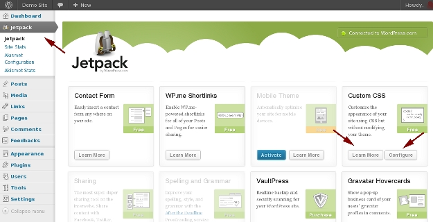 Jetpack Settings Page Activate Custom CSS