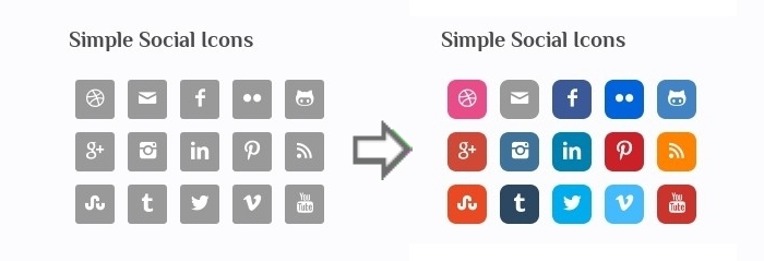 simple social icons add colors