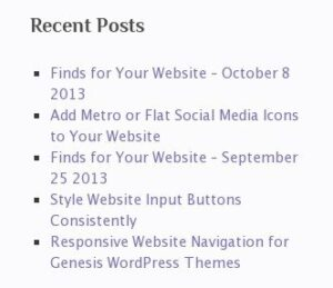 default wordpress recent posts widget