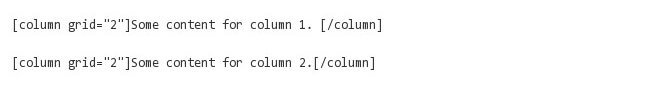 two column shortcode for post content