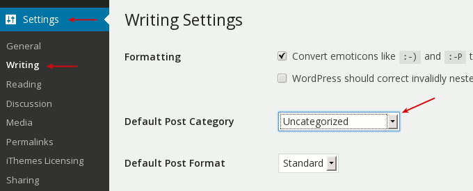 settings change default post category