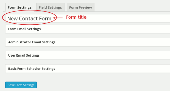 ninja form settings