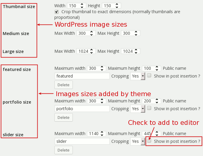 wordpress settings media image sizes