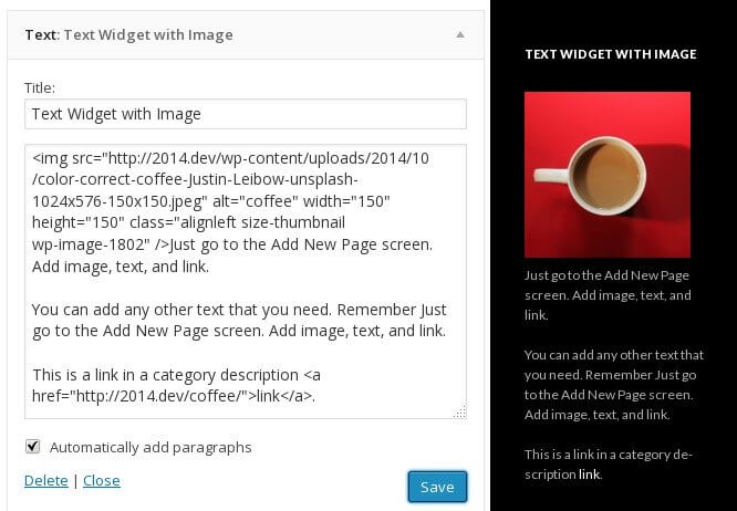 text widget with image html