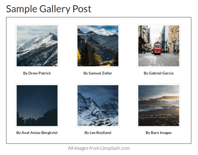 default three column gallery on genesis sample theme