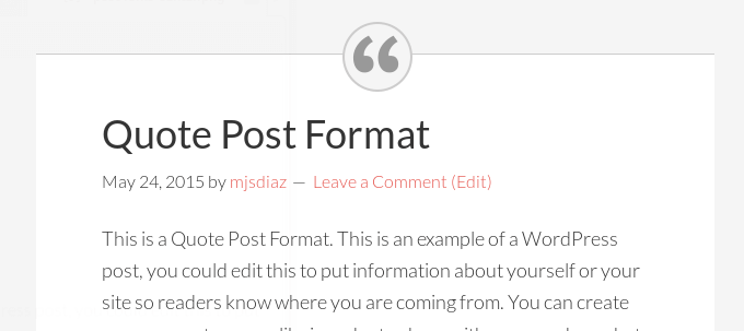 post formats with centered dashicons