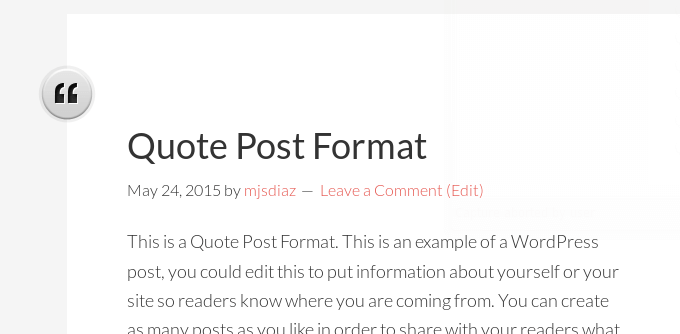 post formats with image icons left