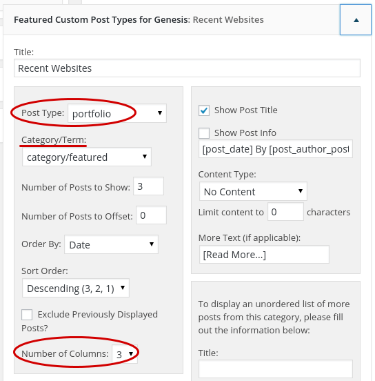 featured custom post type widget settings