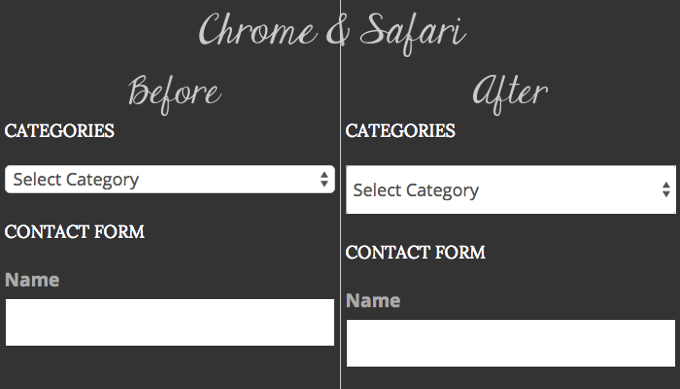 select dropdowns for chrome and safari with CSS fix for height and square corners