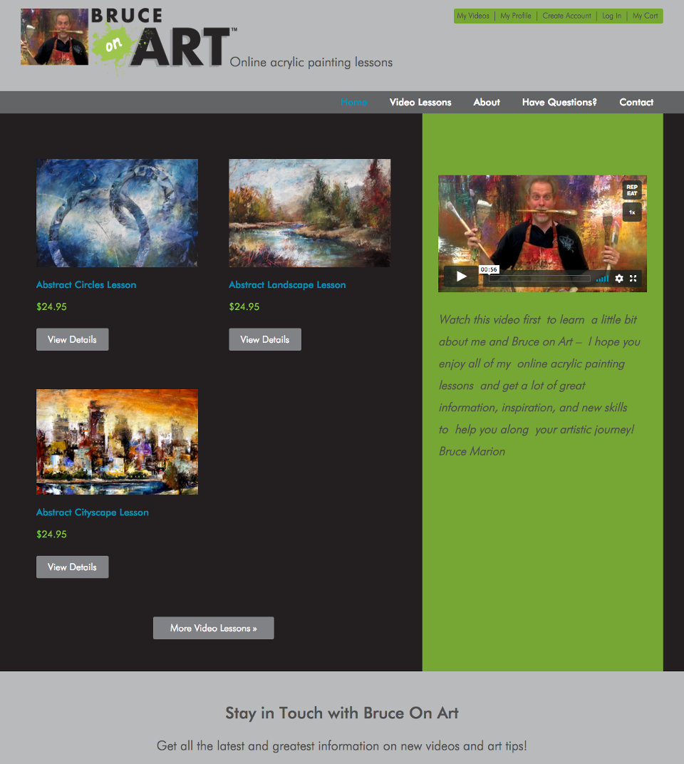 genesis custom ecommerce theme for artist selling online painting videos